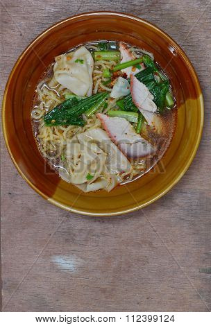 Chinese noodle and wonton topping with barbecue pork