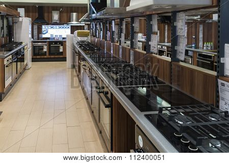 Khimki, Russia - December 22, 2015: Interior Mvideo large chain stores selling electronics