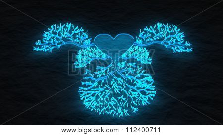 Heart Vessels Tree Concept. Blue Transparent Icon
