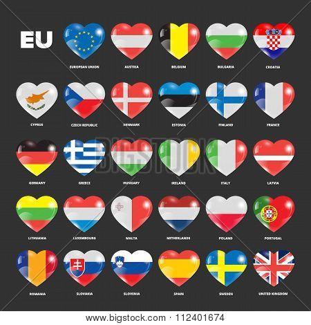 European Union flags in hearts