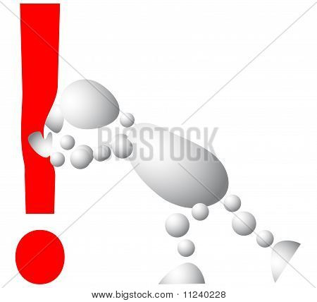 Man Pushes An Red Exclamation Mark