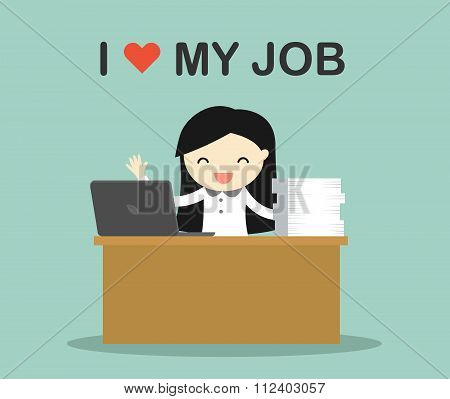 Business concept, Business woman working on her desk with wording