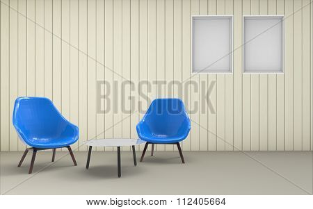 living room Minimal Clean Desing Chair And Wall