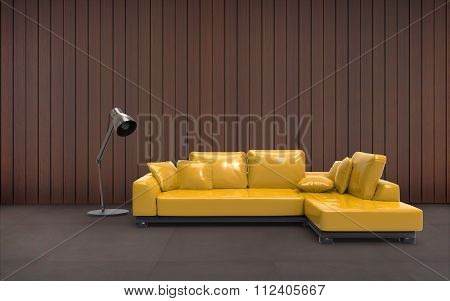 Living room Minimal Sofa Yellow And Wall Composition