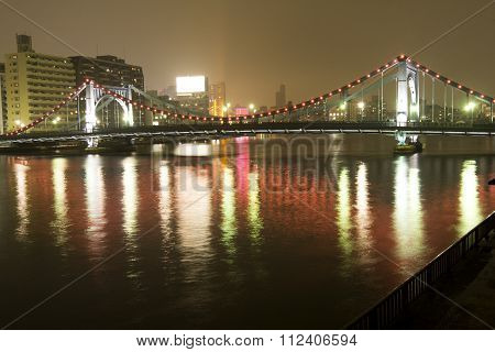 River and bridge at night