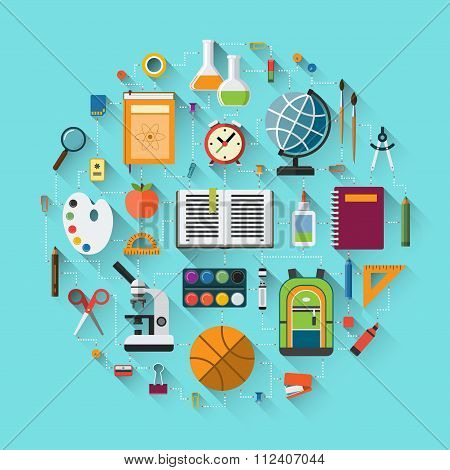 School background with education icons set