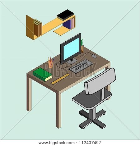 Isometric Image Of The Workplace