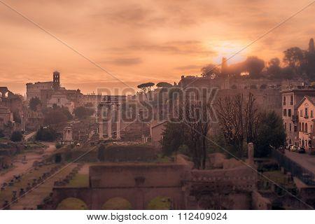 Rome, Italy: The Roman Forum, tilt-shift effect
