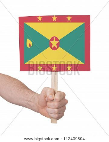 Hand Holding Small Card - Flag Of Grenada