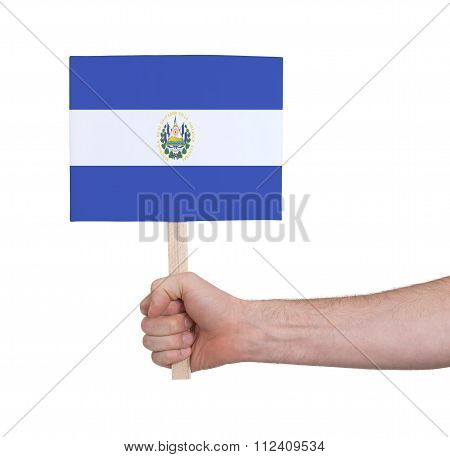 Hand Holding Small Card - Flag Of El Salvador