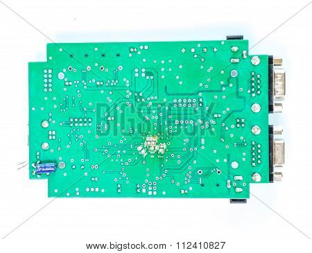 Green Pcb Circuit With White Background