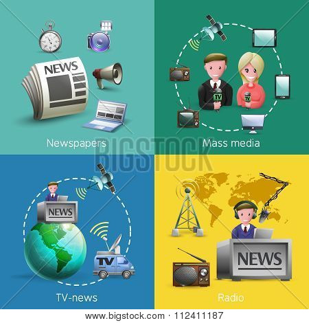 Mass Media 2x2 Images Set