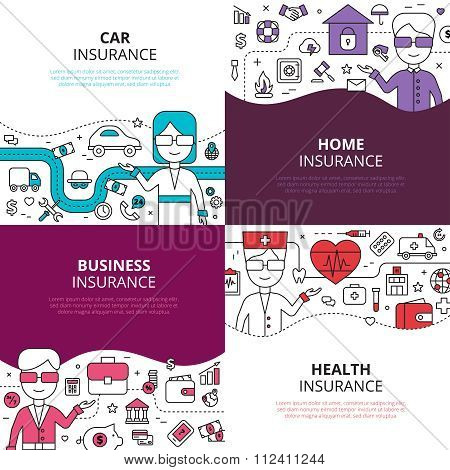 Insurance 4 linear design icons square