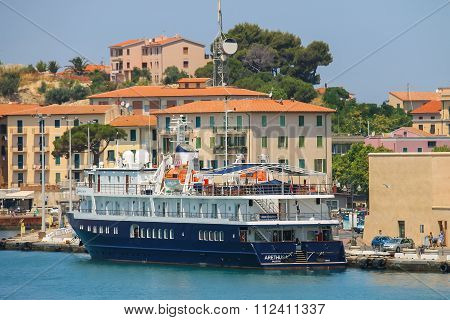 Passengers Ship Arethusa At Berth In Portoferraio On Elba Island, Italy
