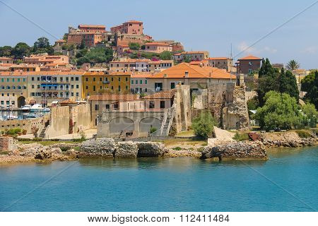 Old Town On The Shore  In Portoferraio On Elba Island, Tuscany, Italy