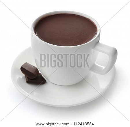 White cup of cacao with chocolate, isolated on white