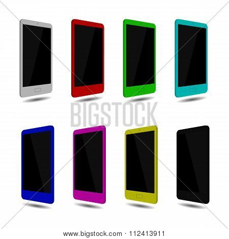 Set isolated smartphone touch screen, color