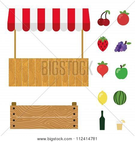 Market Tent With White And Red Striped. Market Stall, Wooden Box, Cherry, Tomato, Strawberry, Grape,
