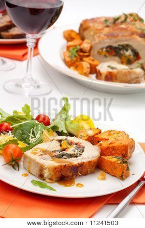 Pork Tenderloin Roulade And Salad