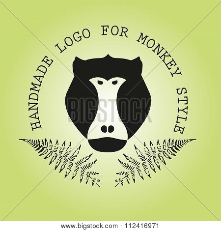 Logotype With Head Of Monkey And Leaves Of Fern. Baboon. Aggressive Logotype.