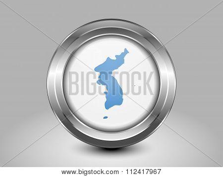 Flag Of United Korea. Metal Round Icon