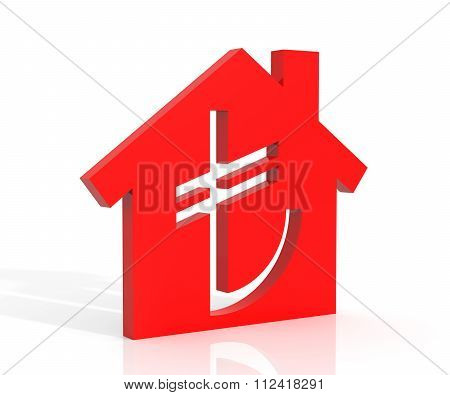 3D Illustration Of House And Turkish Lira Symbol Over White Background