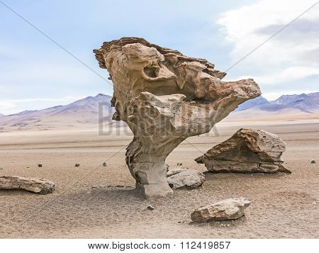 Arbol De Piedra (stone Tree) Is An Isolated Rock Formation In Bolivia
