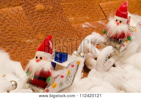 Doll Fabric Of Santa  In Snow