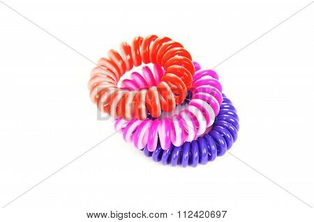 Spiral Colorful Elastic Hair Ties Isolated On A White Background.