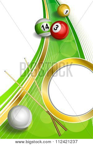 Background abstract green billiards pool cue red ball frame vertical gold circle ribbon illustration