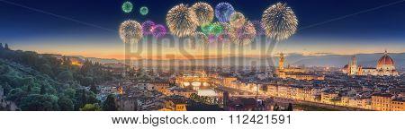 Fireworks Under Arno River And Ponte Vecchio