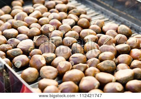 Roasted Spanish Chestnuts On Farm Market