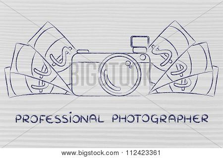 Camera Surrounded By Cash, With Text Professional Photographer