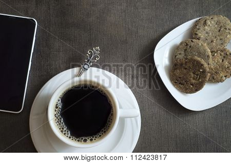 Coffee Cup, Cookies And Mobile Device