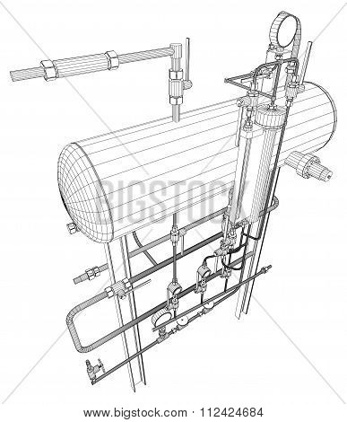 Picture of heat exchanger on white