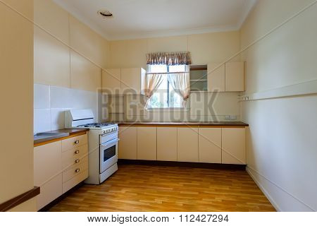 Empty Kitchen With One Window