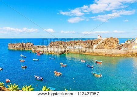 Harbor Of Camara De Lobos, Madeira With Fishing Boats