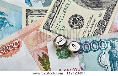 Russian Ruble, Us Dollar And Dices Cubes