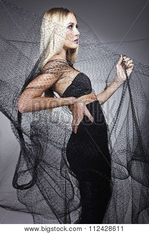 Ravishing Model With A Black Veil