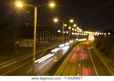Highway at night (blurred)