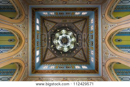 View of Jumeirah Grand Mosque dome interior in Dubai, UAE.