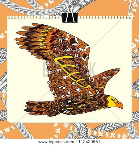 Zentangle stylized eagle. Animal bird collection. Hand drawn doodle. Ethnic patterned vector illustr