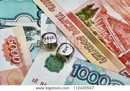 Ruble Banknotes And Dices Cubes