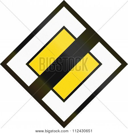 Road Sign Used In Switzerland - End Of Priority Road