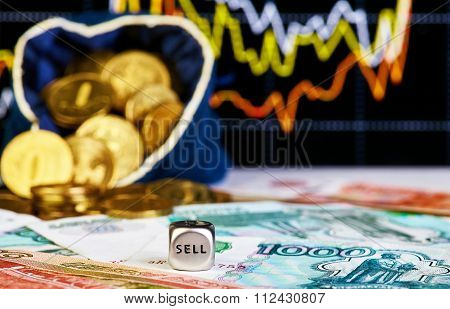 Financial Chart, Golden Coins And Dices Cube