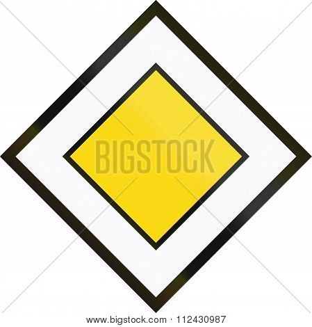 Road Sign Used In Switzerland - Priority Road
