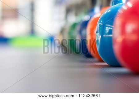 colorful kettle bell on table