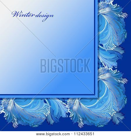 Winter frozen glass background. Blue wedding frame design. Text place.