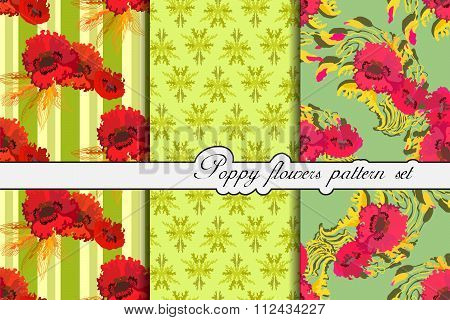 Poppy flowers pattern background set. Vector illustration.