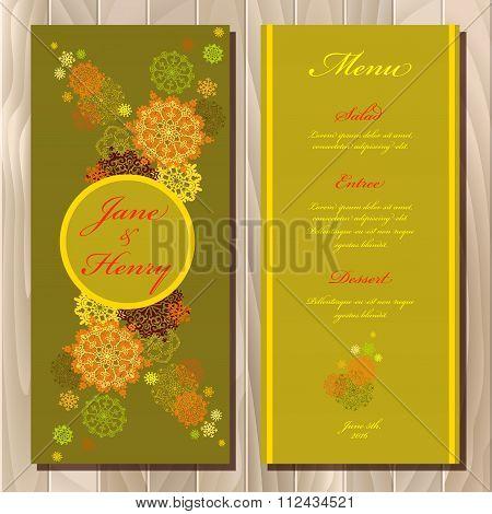 Golden snowflakes design wedding menu card. Wedding Vector illustration